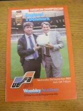 21/09/1983 England v Denmark [At Wembley] . Item in very good condition, unless