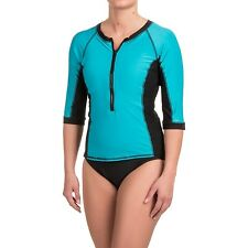 NWT New MIRACLESUIT So It Seams Rash Guard Top Tankini Swimwear Blue Black 12