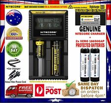 Nitecore D2 Intelligent Charger + 2x Protected (Panasonic) Xero 3500mAh Battery