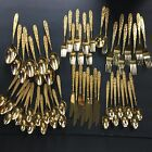 Stanley Roberts Gold Electroplate Stainless Golden Bouquet Spoons Knives Forks