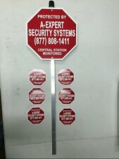 HOME SECURITY SYSTEM ALARM YARD LAWN SIGN & STAKE with 6 FREE SECURITY DECALS