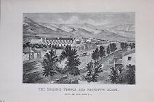 Salt Lake City, Tempio MORMONE-Antico B/N PRINT-ENCICLOPEDIA c19th