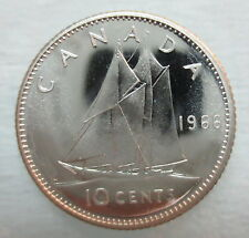 1966 CANADA 10 CENTS PROOF-LIKE SILVER COIN
