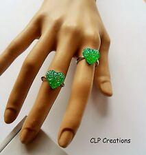 Corazón verde brillante anillo de dedo, Placa de Plata Ajustable, Primavera Amor Kawaii
