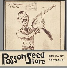 Portland OR Barbershop Comic Barber Strap Shave Posson Seed Store Farm Ad Card