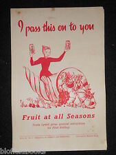 I Pass This On To You; Vintage Cookery Leaflet c1950's - Fruit for All Seasons