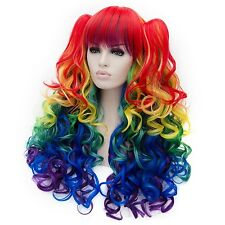 Anogol Vocaloid Wavy My Little Pony Rainbow Dash Cosplay Wig Party Lolita Wigs