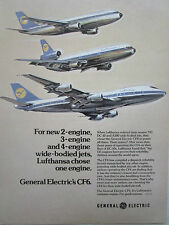 1/1977 PUB GENERAL ELECTRIC CF6 ENGINE AIRBUS A300 DC-10 BOEING 747 LUFTHANSA AD