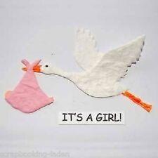 3 x Storch mit Bündel rosa Geburt Scrapbooking Basteln
