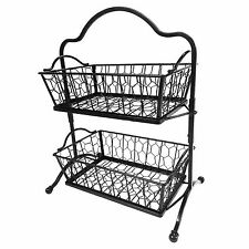 New 2 Tier Fruit Rack Wrought Iron Display Basket Metal Stand 19""
