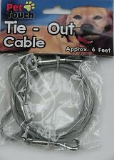 """SILVER """"Tie Out Cable"""" 6 feet long cable-Dog/Puppy/Cat/Kitten/Gift/Walk/Run"""