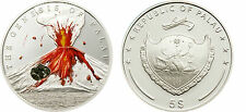 2006 Palau Large Proof Silver color $5 Volcano with actual lava rock