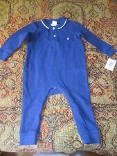 NEW Polo Ralph Lauren 9M One Piece Baby Romper Rugby  Solid Outfit