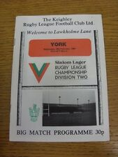 29/02/1984 Rugby League Programme: Keighley v York  . Condition: We aspire to in