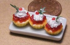 1:12 Scale Ceramic Tray Of 3 Red Cherry Cup Cakes Dolls House Miniature PL123