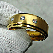 TUNGSTEN CARBIDE Gold Plated RING with Three-Stone CZ Accent, size 13