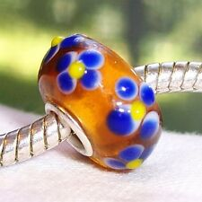 Blue Flowers Brown Single Core Murano Glass Bead fits European Charm Bracelets
