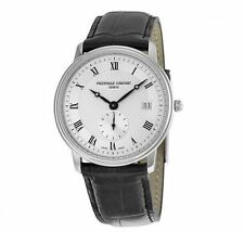 FREDERIQUE CONSTANT GENEVE - Slimline Silver Mens Watch Date FC-245M4S6 Leather