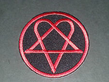 GOTHIC BIKER SEW/IRON ON PATCH:- RED on BLACK HEARTAGRAM (c) VILLE VALO