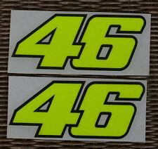 VALENTINO ROSSI 46 DECALS - 2 STICKERS YELLOW FLUORESCENT - BIG SIZE CM.14,5X6