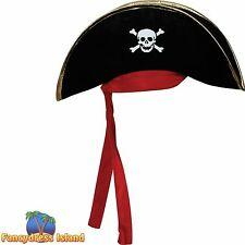 BLACK PIRATE HAT - GOLD TRIM/RED BANDANA One Size FAST POST Unisex Fancy Dress