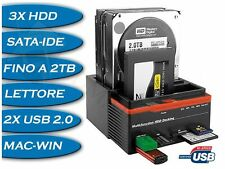 DOCKING STATION TRIPLO 3 HD HARD DISK USB 2.0 MULTIFUNZIONE CARD SATA IDE