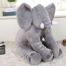 Long Nose Elephant Doll Pillow Gray Plush Stuff Toys Lumbar Pillow For Baby Kids
