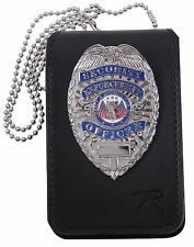 """Black Leather Law Enforcement Security Badge & ID Holder w/ 33"""" Neck Chain 1136"""