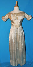 ANTIQUE DRESS c1838 LADY'S SILK SATIN GOWN ALL HAND STITCHED MUSEUM DE-ACCESSION