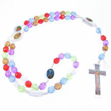 Plastic multicolour Saints childs small cord rosary beads girl boy rainbow Jesus