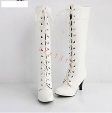 Women's High Heel Lace UP Knee High Boots Cospaly Faux Leather Banquet Shoes SZ