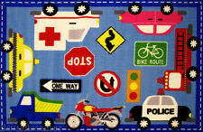 """3x5 Area Rug Downtown Traffic Sign Police Fire Truck Bike Truck Taxi 3'3""""x4'10"""""""