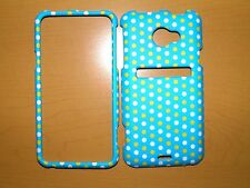 SPRINT HTC EVO LTE YELLOW WHITE DOTS ON BLUE SNAP ON COVER/CASE NEW