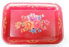 Red tray With Flowers design Wheeling Steel Tin Tray by Harvell Yorkville Works