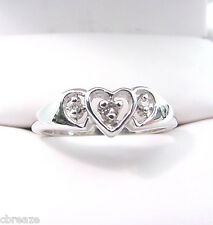 THREE DIAMOND HEARTS  VINTAGE 10K WHITE GOLD SWEETHEART RING
