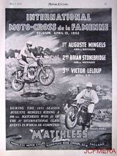 1952 Motor Cycle ADVERT - Matchless Belgium Moto Cross Photo AD Auguste Mingels