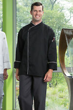 Uncommon Threads Chef Jacket PANAMA 0491 Black with White Piping size XS