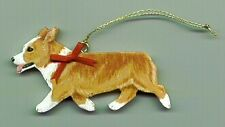 Pembroke Welsh CORGI Wooden Trotting Dog ORNAMENT  - red/white -Hand Crafted! !