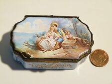 Antique 19th C Samson French LOVERS Hand Painted Enamel Silver Mounted SNUFF BOX
