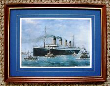 FRAMED SMALL PRINT OF  TITANIC  LEAVING SOUTHAMPTON FOR NEW YORK  by J.K.BYASS