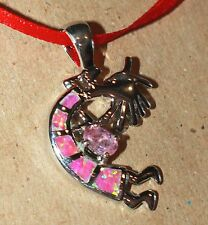 pink fire opal Topaz necklace pendant gems silver jewelry unique chic KOKOPELLI