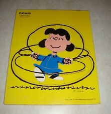 "Vintage Playskool Peanuts Lucy ""Jumping Rope"" Wooden Tray Puzzle #230-12 -Estate"