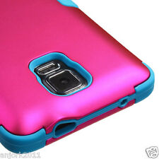 Samsung Galaxy Note 4 Hybrid T Armor Defender Case Skin Cover Hot Pink Blue