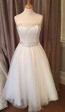 Stunning Tea length Ivory Satin And Tulle Wedding Dress Size 12 By Romantica