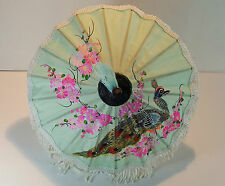 Vintage Miniature Dolls Peacock Fabric Wooden Chinese Oriental Parasol/Umbrella