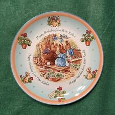"""Wedgwood Happy Birthday from Peter Rabbit 2001 8"""" Plate Made in England MINT"""