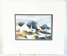 Set of Three Watercolor Paintings Country Village Scenes Signed