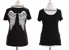 TP-07 Punk Gothique noir T-Shirt Ailes D'ange Angel ailes Dos Harajuku