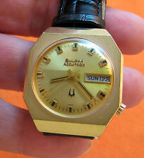 SERVICED VINTAGE 218 ACCUTRON HEAVY GOLD ELECTROPLATE TUNING FORK MENS WATCH N2