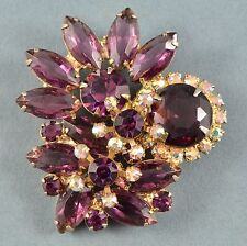 Vintage Brooch JULIANA 1960s Purple & AB Crystal Goldtone Bridal Jewellery